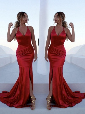 Glamorous Red Halter Lace Up Prom Dresses Sleeveless Ruffles Mermaid Side Slit Sexy Evening Dresses_4