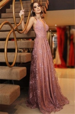 Glamorous Pink Lace Appliques V-Neck Prom Dresses | Backless Sleeveless Evening Dresses