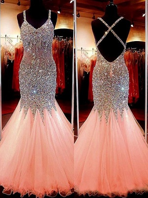 Spaghetti Strap Beads Crystal Prom Dresses | Sleeveless Pink Lace Up Evening Dresses_2