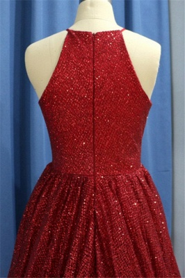 Glamorous Sequins Ruffles Halter Prom Dresses Sleeveless Sexy Evening Dresses with Beads_3