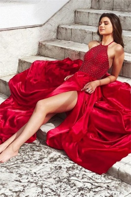 Glamorous Red Halter Sleeveless Prom Dresses Side Slit Sexy Evening Dresses with Beads_3