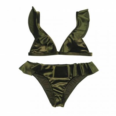 Silky Sexy V-Neck Draped Two-piece Bikini Sets_16