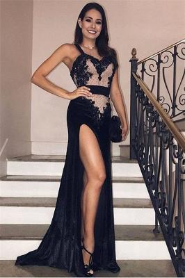 Glamour Black Velvet Spaghetti-Straps Side-Slit Evening Gown | Suzhou UK Online Shop_1