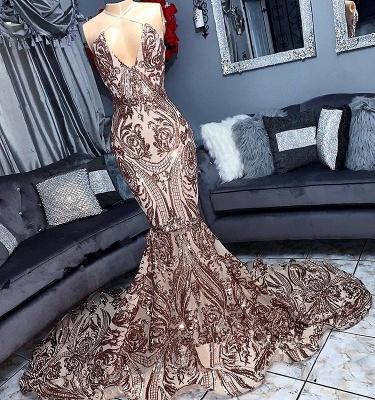 Sexy Low Cut Sequins Summer Sleeveless Trumpet Floor Length Prom Dresses | Suzhou UK Online Shop_1