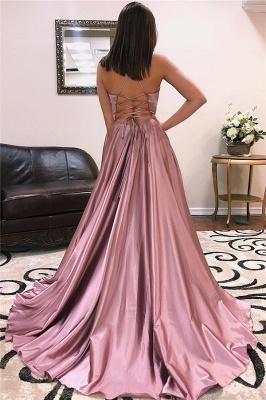 Princess A-line Sexy Low Cut Summer Sleeveless Front Slit Long Prom Dresses | Suzhou UK Online Shop_4