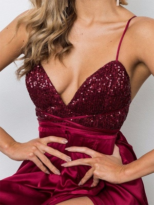 Burgundy Sequins Spaghetti Strap Prom Dresses Lace Up Sleeveless Side Slit Sexy Evening Dresses_2