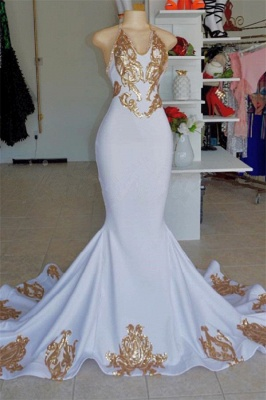 Halter Sexy Low Cut Summer Sleeveless Gold Appliques Prom Dress | Suzhou UK Online Shop_1