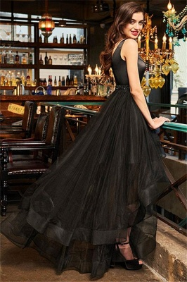 Black V-Neck Ruffles Crystal Prom Dresses Hi-Lo Open Back Sleeveless Sexy Evening Dresses_3
