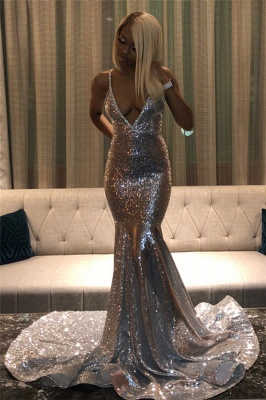 Spaghettistraps Sequins Sleeveless Prom Dresses | Sexy Mermaid Open Back Evening Dresses_5