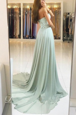Glamorous Lace Appliques Sweetheart Prom Dresses   Ribbons Sleeveless Evening Dresses_2