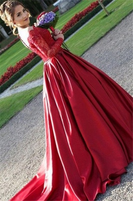 Red Lace Off-the-Shoulder Prom Dresses | Long Sleeves Ball Gown Evening Dresses_2