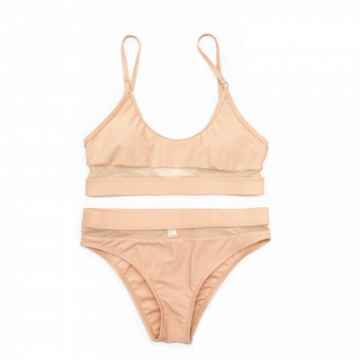 Simple Two-piece Hollow Out Mesh Bikini Sets_12