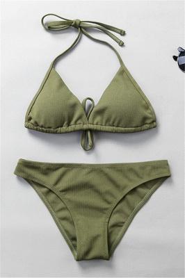 Plain Triangle Pads Halter Two-piece Bikini Sets_5
