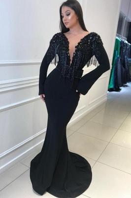 Long Sleeves Trumpet Sexy Low Cut Tassel Beading Open Back Prom Dresses   Suzhou UK Online Shop_1