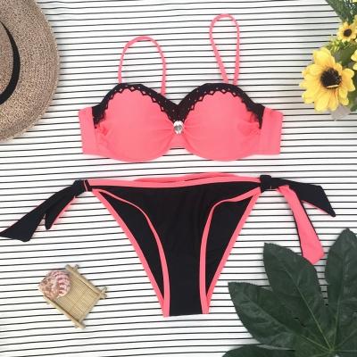 Sweetheart Spaghetti Pink and Black Two-piece Bikini Sets_6