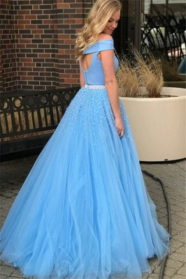 Glamorous Blue Off -the-Shoulder Keyhole Prom Dresses Two Piece Crystal Sexy Evening Dresses with Beads_2