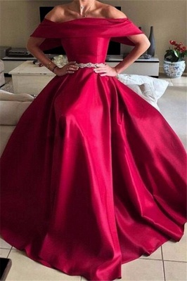 Glamorous Off-the-Shoulder Ruffles Prom Dresses Sleeveless Sexy Evening Dresses with Belt_3