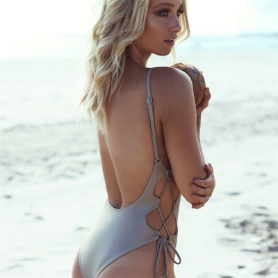 V-neck Spaghetti Backless One-piece Lace-up Beachwears_5