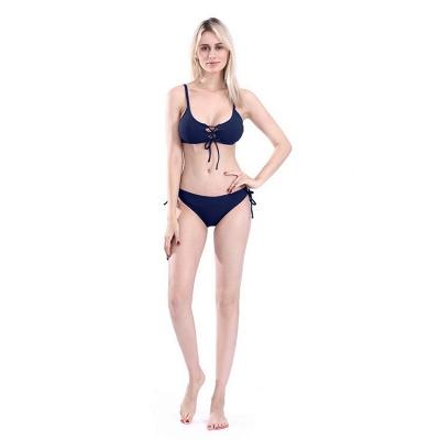 Spaghetti Straps Lace-up Bras Two-piece Bikini Swimsuits_5