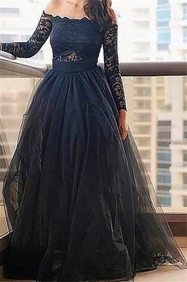 Black Long Sleeves Lace Bateau Prom Dresses | Tulle Cheap Evening Dresses with Belt_1