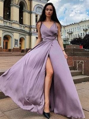 Glamorous Spaghetti Strap Prom Dresses Sleeveless Side Slit Sexy Evening Dresses with Belt_2