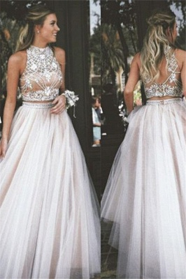 High Neck Two Pieces Prom Dresses Sleeveless Open back Crystal Sexy Evening Gowns_1