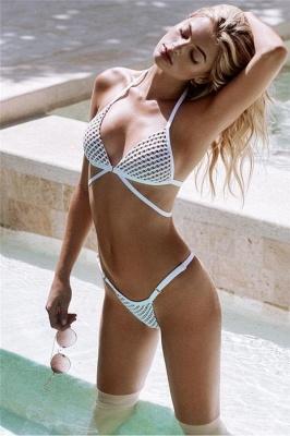Mesh Triangle Pads Bandage Two-piece Bikini Swimsuits_1