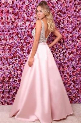Pink V-Neck Sequins Ruffles Prom Dresses | Open Back Sleeveless Evening Dresses_2