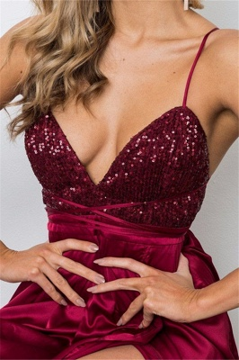 Burgundy Sequins Spaghetti Strap Prom Dresses Lace Up Sleeveless Side Slit Sexy Evening Dresses_3