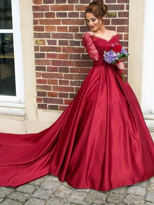 Red Lace Off-the-Shoulder Prom Dresses | Long Sleeves Ball Gown Evening Dresses_3