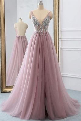 Pink V-Neck Lace Appliques Crystal Prom Dresses | Sheer Side slit Backless Sleeveless Evening Dresses_1