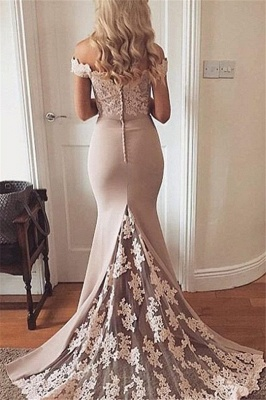 Lace Off-the-Shoulder Prom Dresses  Mermaid Sexy Evening Dresses_2
