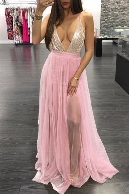 Glamorous Sequins Halter Lace Appliques Prom Dresses | Lace-Up Side slit Sleeveless Evening Dresses_1