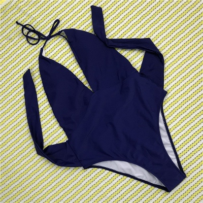 One Piece Sexy V-Neck Halter Ribbon Bow Swimwear Suits_3