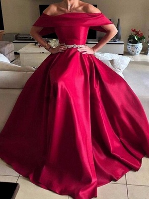 Glamorous Off-the-Shoulder Ruffles Prom Dresses Sleeveless Sexy Evening Dresses with Belt_1