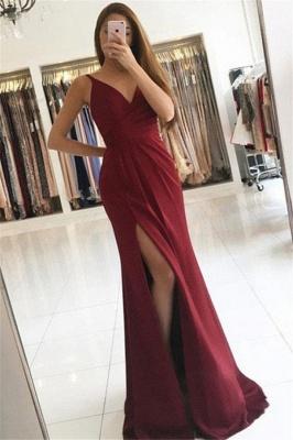 Glamorous V-Neck Ruffles Mermaid Prom Dresses Side Slit Sleeveless  Sexy Evening Dresses_1