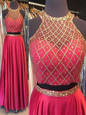 Fashion Pink Sequins Lace Appliques Crystal Halter Prom Dresses | Sleeveless Evening Dresses With Belt_2