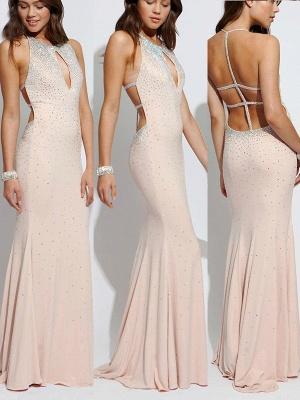 Glamorous Lace Up Halter Beads Prom Dresses | Sexy Mermaid  Keyhole Evening Dresses_2