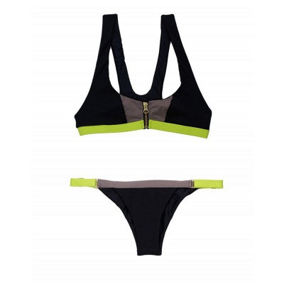 Black contrast Straps Two-piece Bikini Sets_10