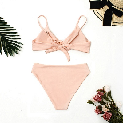 Vintage Nude Lovely Pink Knot Straps Two-piece Bikinis_5