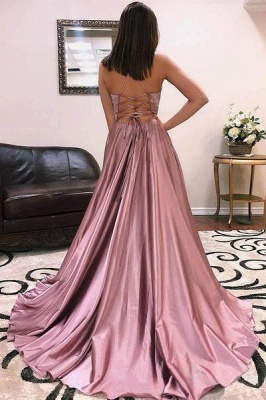 Charmeuse Halter Lace-Up Prom Dresses | Side slit Sleeveless Evening Dresses_2