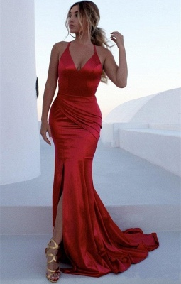 Sexy Low Cut Spaghetti Summer Sleeveless Trumpet Front Slit Prom Dresses | Suzhou UK Online Shop_1