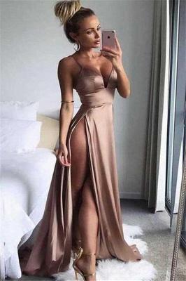 Spaghetti Strap Sleeveless Prom Dresses   Side Slit  Evening Dresses_1
