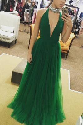 Glamorous Crystal Halter Prom Dresses | Sheer Sleeveless Evening Dresses