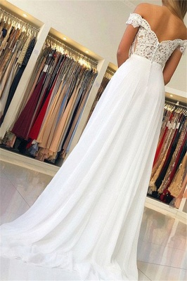 Glamorous Off-the-Shoulder Lace Appliques Prom Dresses | Open Back Sleeveless Evening Dresses with Belt_3