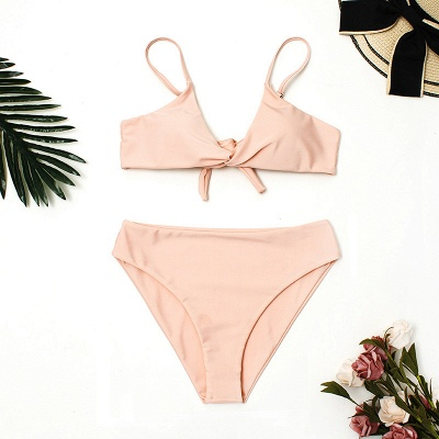 Vintage Nude Lovely Pink Knot Straps Two-piece Bikinis_8