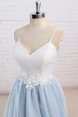 Glamorous Spaghetti-Strap Lace Appliques Prom Dresses | A-Line Sleeveless Evening Dresses_2
