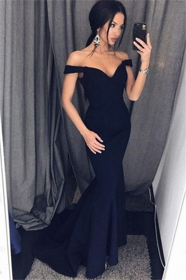 Black Off-the-Shoulder Prom Dresses Ruffles Sleeveless Mermaid Sexy Evening Dresses_1