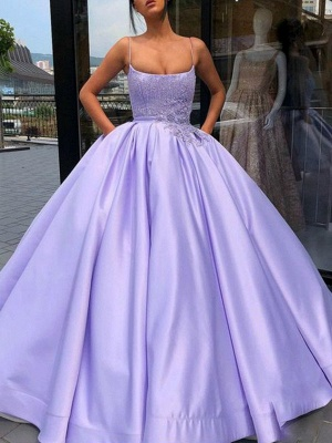 Glamorous Spaghetti Strap Applique Beads Prom Dresses Ruffles Ball Gown Sleeveless Sexy Evening Dresses with Pocket_2