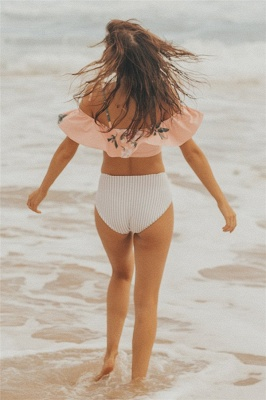 Pink Printed Two Piece Swimsuit  | Sexy Bikini for Summer Beach Online_6